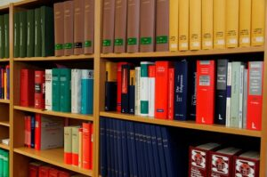 Legal books and Law Reports on a bookshelf in Lawyers Chambers