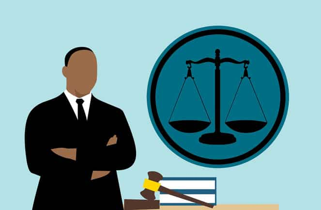 an illustration of lawyer and court balance scale