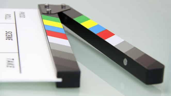 cinema slate clapper board in motion