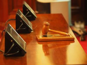 judicial wooden gavel on a table in a court in Florida USA
